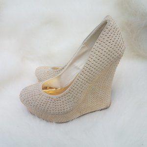 Posh tan studded wedge high heels size 7.5